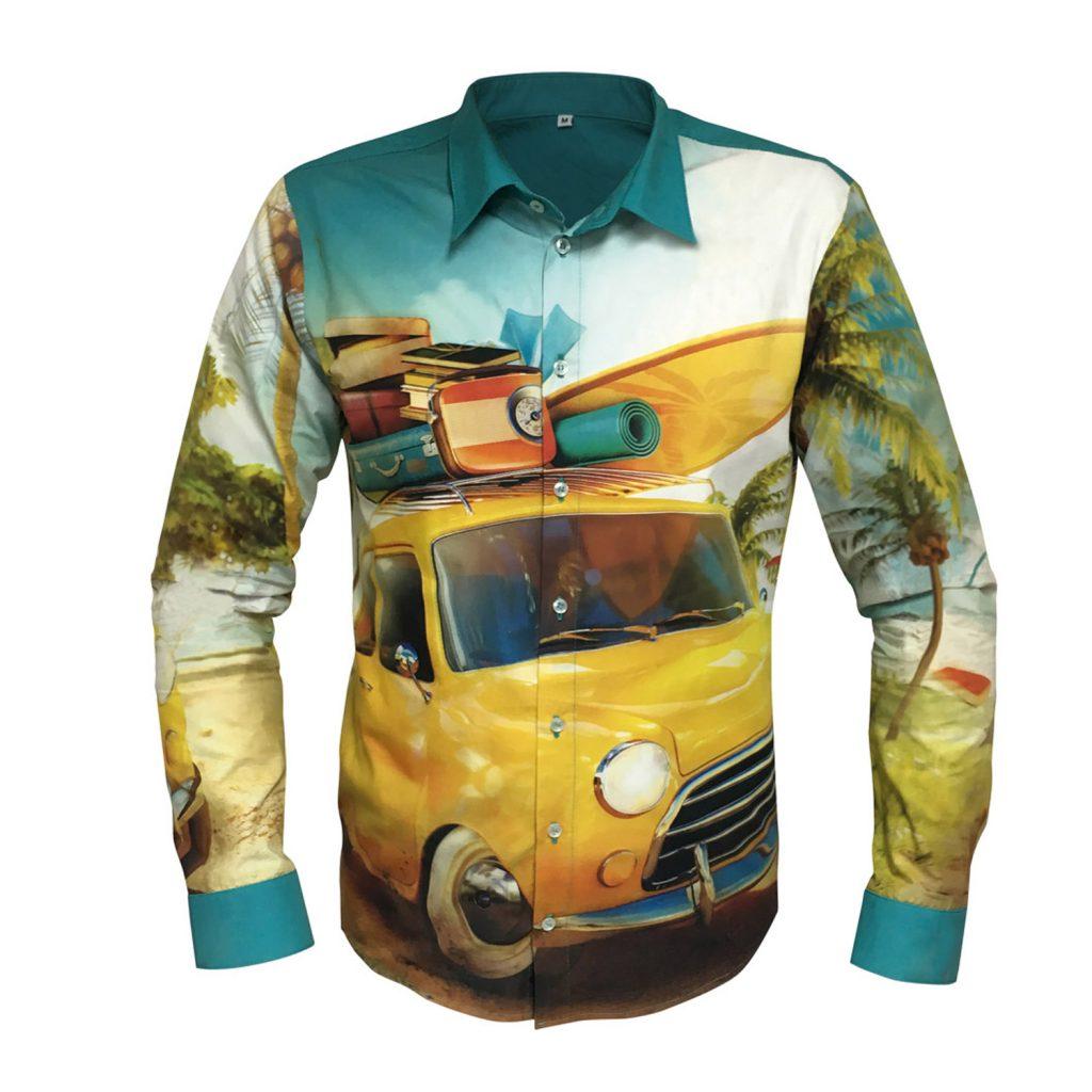Hemden und Blusen aus 100% Popelin-Baumwolle mit vollflächigem Allover-Druck