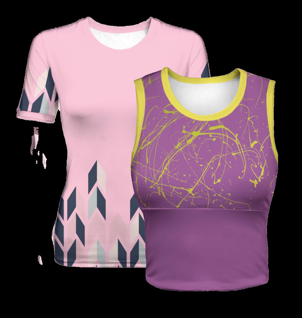 T-Shirts, Longsleeves, Poloshirts und Tanktops mit vollflächigem Sublimationsdruck (Allover-Druck)