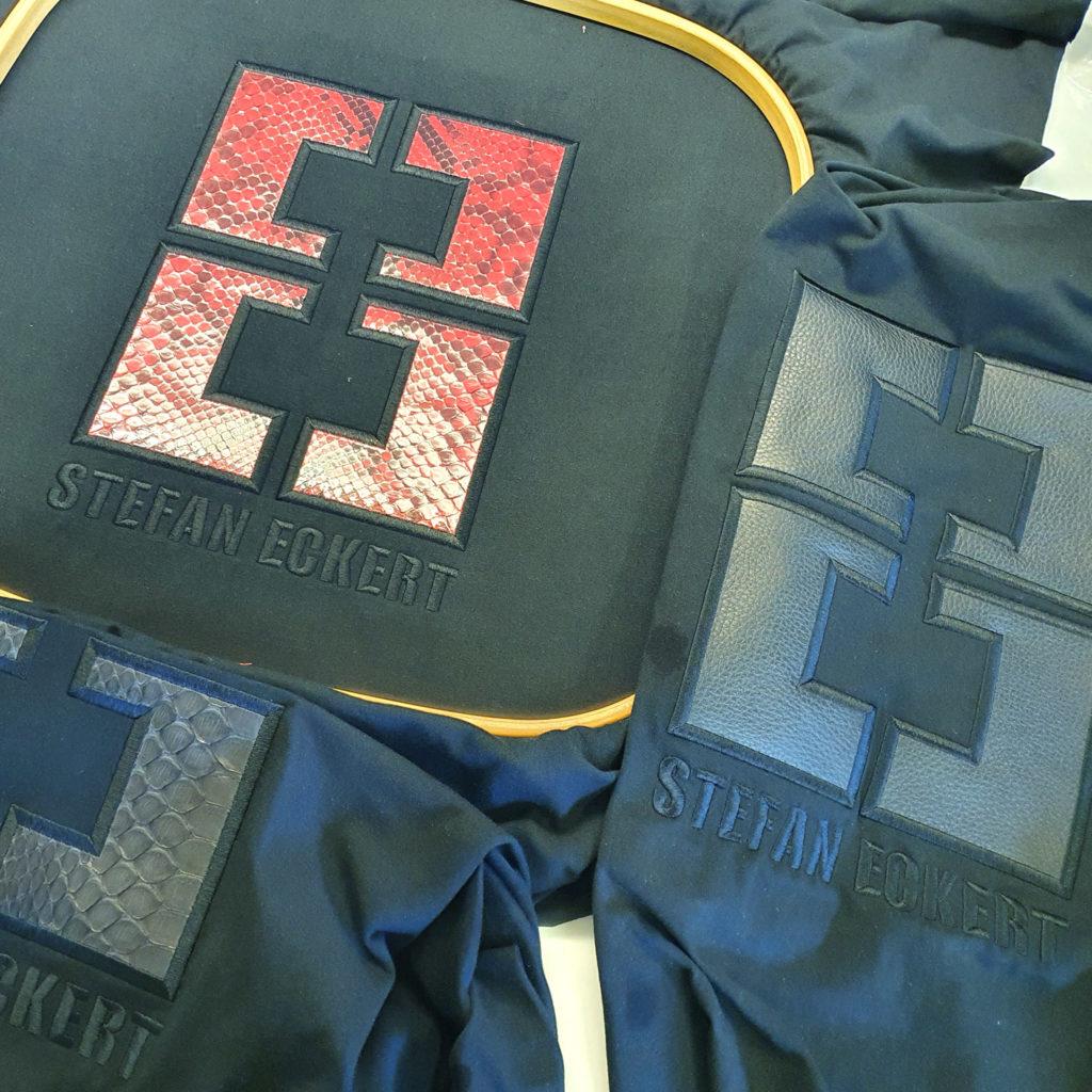 Applikationen mit Effektmaterialien wie Leder, Kunststoff und Folien